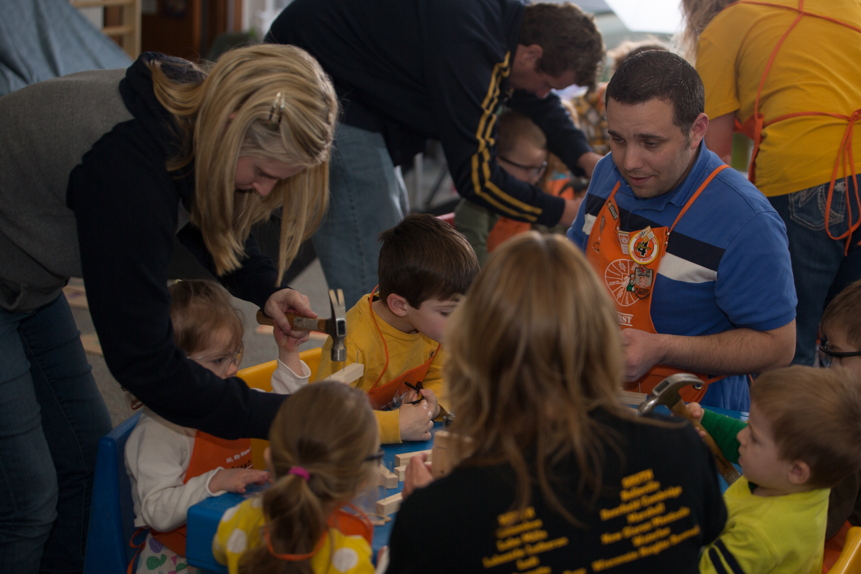 Anna helping some kids at Tri-North's onsite daycare.
