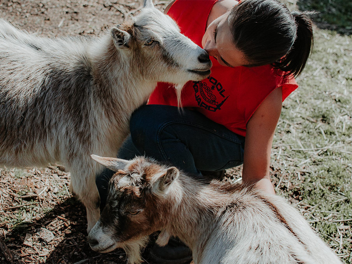 Cool Girl Virginia Krakowiak with Rescue Goats